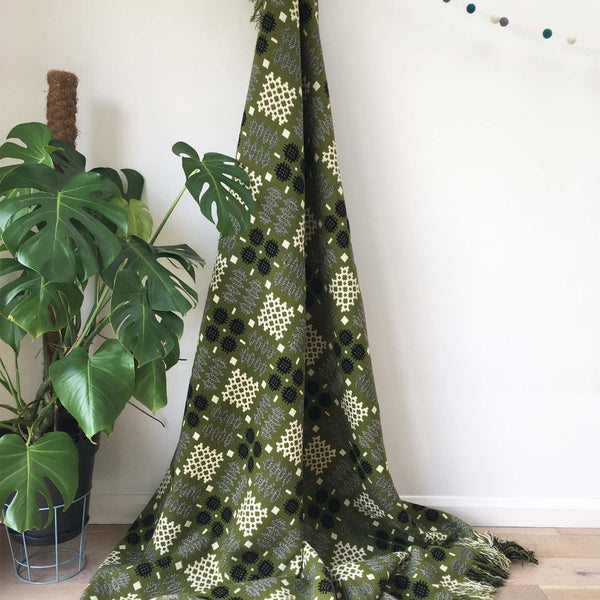 Vintage Welsh Blanket - Olive Green and Cream - White Space Home