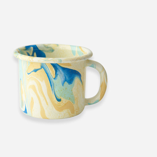 Bornn - Lemon Yellow Marble Enamel Mug - White Space Home