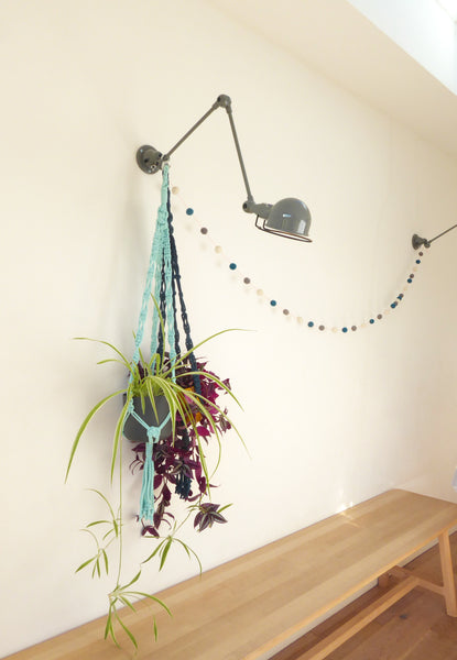 Mint Green Recycled Yarn Macrame Plant Hanger - White Space Home