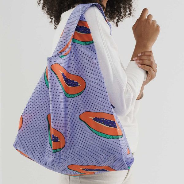 Fold Up Shopping Bag - Standard Baggu - Blue Papaya - White Space Home