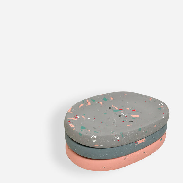 Pink Terrazzo Soap Dish - White Space Home - White Space Home