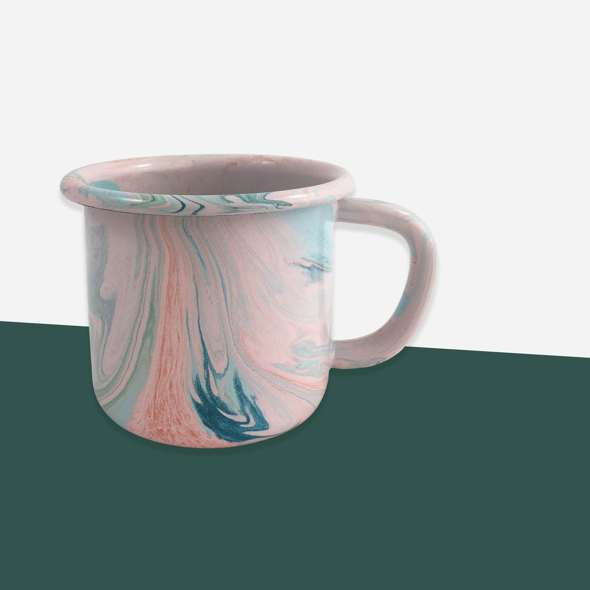 Bornn Blush Pink Marble Enamel Mug - White Space Home