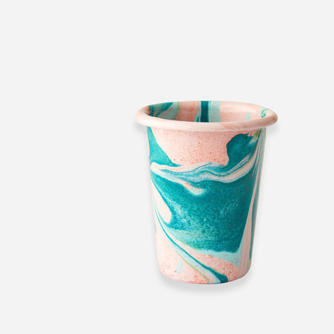Bornn Blush Pink Marble Enamel Tumbler - White Space Home