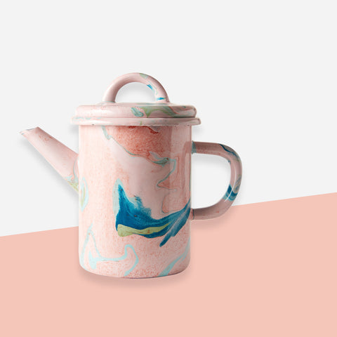 Bornn Blush Pink Marble Enamel Teapot - White Space Home