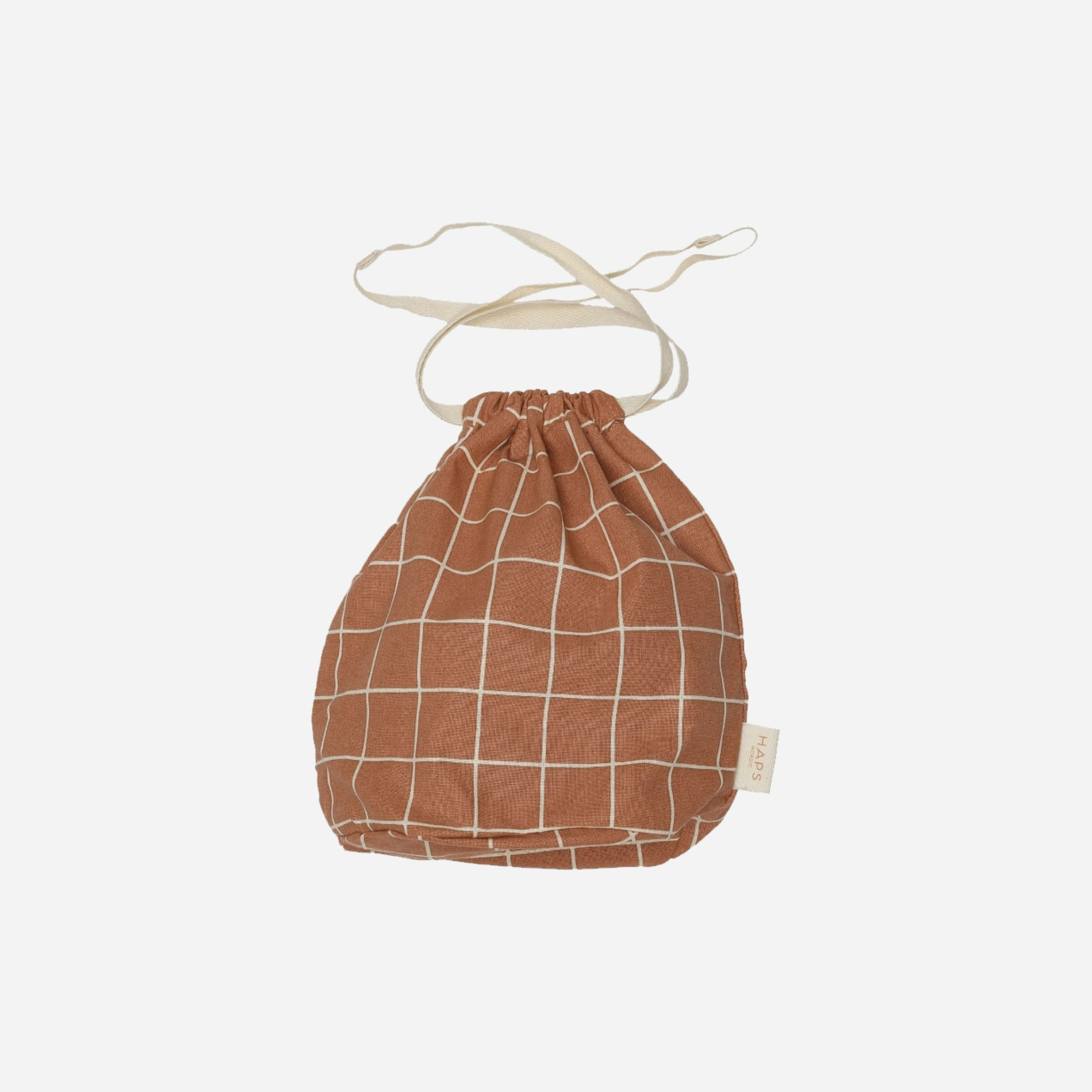 Drawstring Pouch - Haps Nordic - Terracotta Check - White Space Home