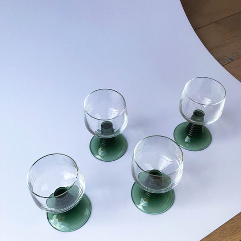 Green Stem Wine Glasses - Set of 4