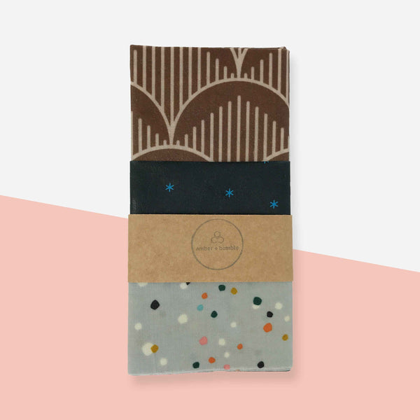 Reusable Cotton Beeswax Wraps - White Space Home