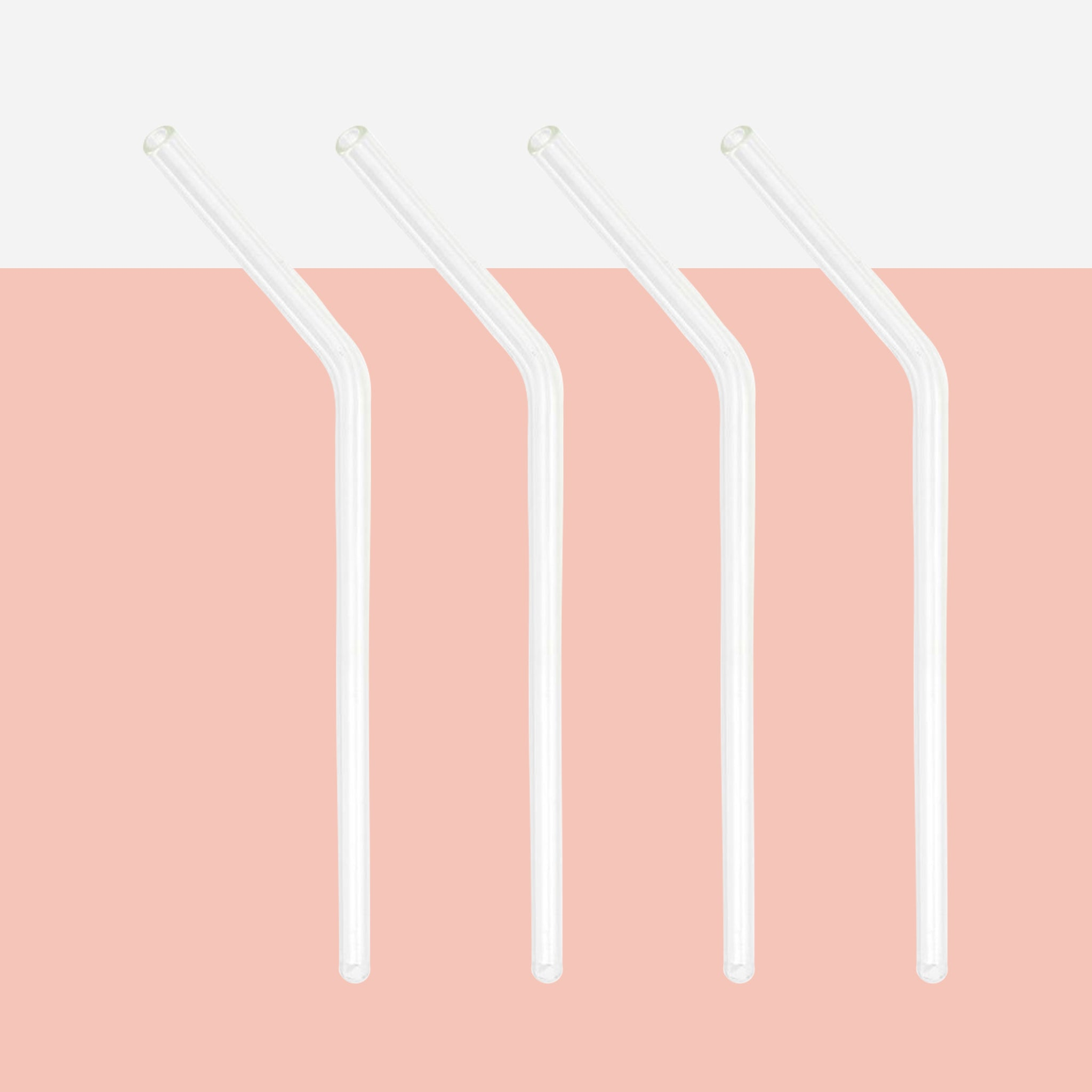 Set of 4 Reusable Glass Straws & Brush - White Space Home