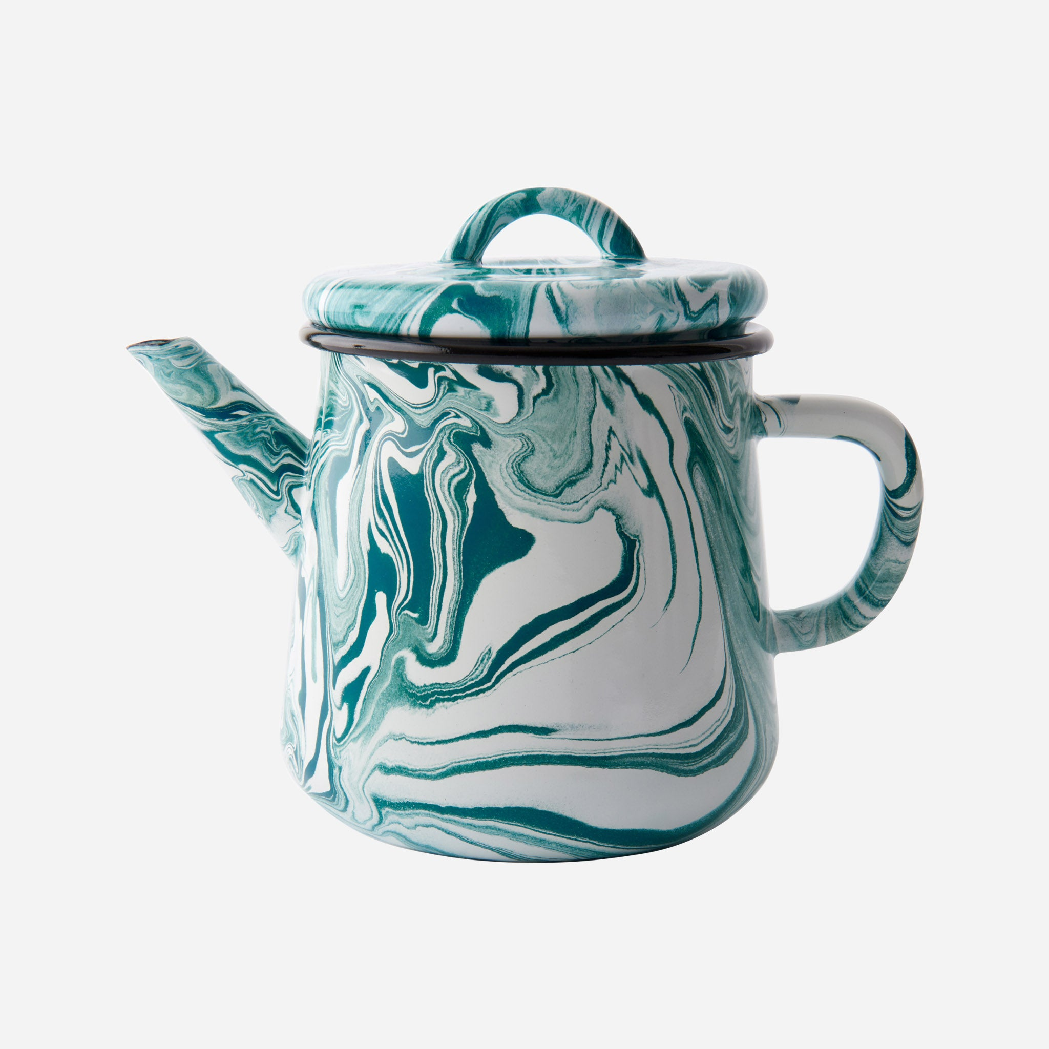 Bornn Teal and White Enamel Teapot - White Space Home