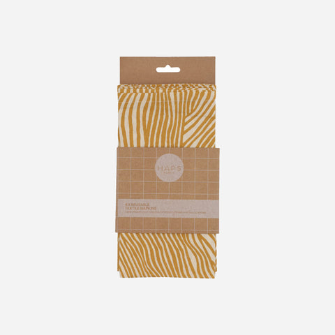 Table Napkins - Haps Nordic - Mustard Wave - White Space Home