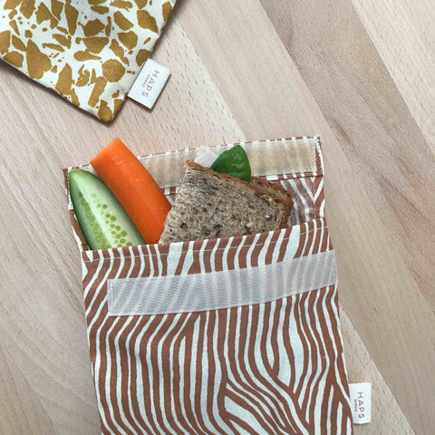 Eco Friendly Sandwich Bag - Haps Nordic - Terracotta Wave - White Space Home