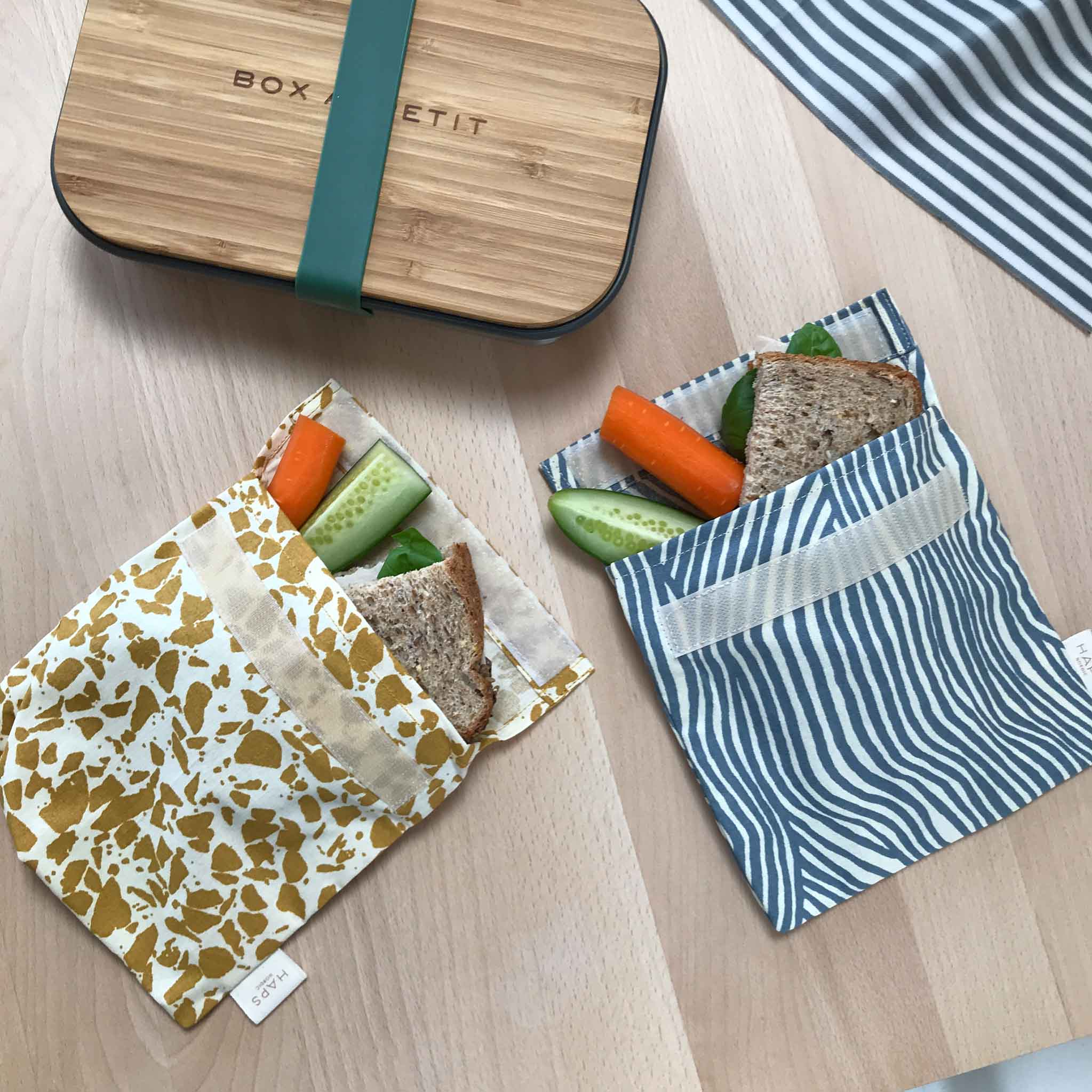 Eco Friendly Sandwich Bag - Haps Nordic - Ocean Wave - White Space Home