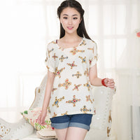 Sunflower Bird Chiffon Print Blouse Stripe Plaid