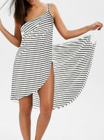 Sexy Backless Women Summer Striped Dress V-neck Spaghetti Strap