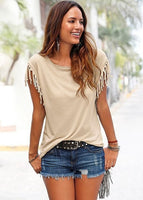 9130  Casual T-shirt Sleeveless Solid Color Tees Short Sleeve O-neck Women's Clothing t shirt