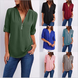 New Spring Summer Fashion Women Tops Casual Street Half Sleeve V-Neck Blouse Loose Plus Size Zipper Chiffon Blouse Shirts