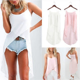 White Pink Summer Autumn Camis Dress Women Solid Irregular O-Neck Casual