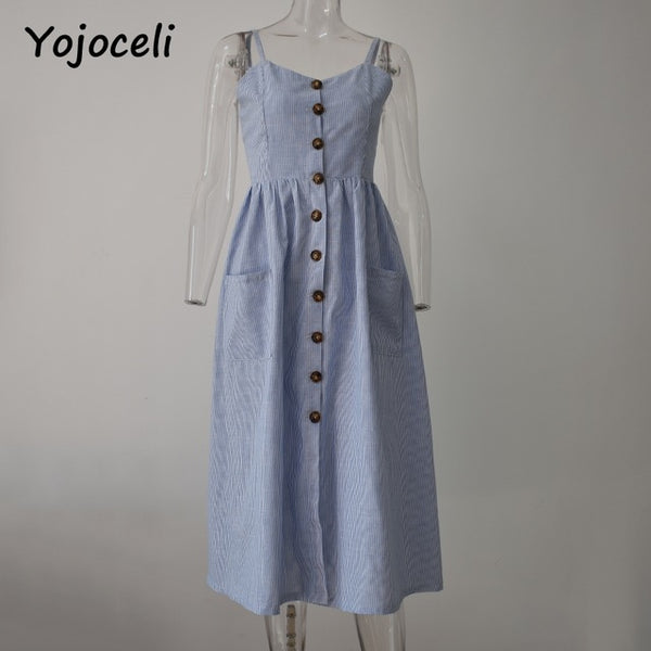 Striped button sexy casual summer strap dress Long