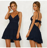 Summer Women Lace Dress Sexy Backless V-neck Beach Dresses