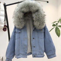 10002 Winter Thick Jean Jacket Faux Fur Collar