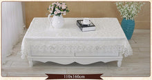 Load image into Gallery viewer, Luxury Off White Tablecloth with White Embroidery Lace. Range of sizes Beautiful Tablecloth