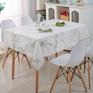 White Lace Tablecloth Rectangular or Square - Kitchen Dining - Party Celebration Wedding Banquet - Various sizes available