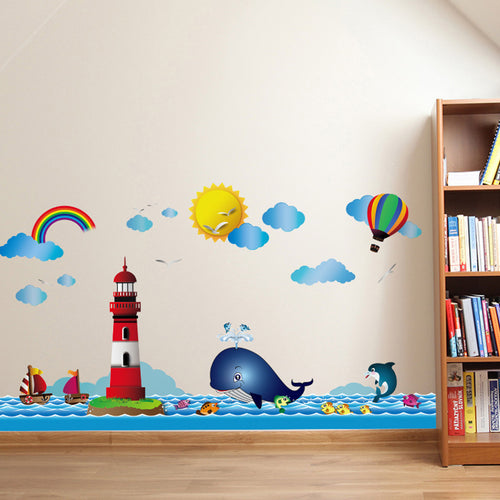 Wall Decal with New Ocean Lighthouse Cartoon. Wall Sticker For Kids/ Children Room or Bathroom. Tiles Wall Decal Mural. Waterproof. Add to your Children's Home Decor