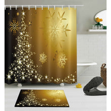 Load image into Gallery viewer, Christmas & Snowflakes Shower Curtain with Mat Set for your Bathroom Home Decor Waterproof Polyester