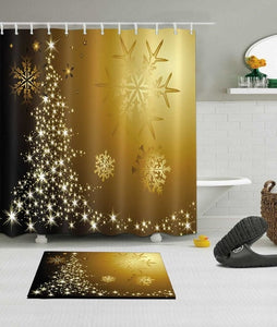 Christmas & Snowflakes Shower Curtain with Mat Set for your Bathroom Home Decor Waterproof Polyester