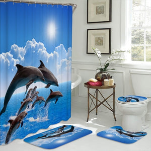 4 piece 3D Dolphin Shower Curtain set | Waterproof Fabric