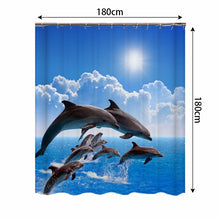 Load image into Gallery viewer, 4 piece 3D Dolphin Shower Curtain set | Waterproof Fabric