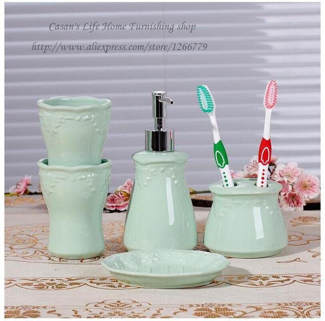 5 piece Ceramic Emboss Bathroom Set -  Green
