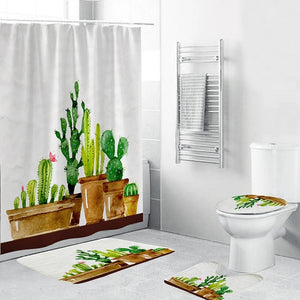 4 Piece Cactus Bathroom Set | Toilet Seat Cover + Mat | Bath Mat | Shower Curtain