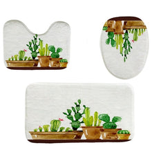 Load image into Gallery viewer, 4 Piece Cactus Bathroom Set | Toilet Seat Cover + Mat | Bath Mat | Shower Curtain