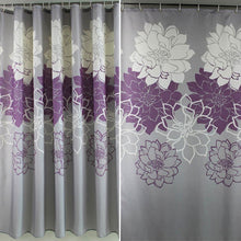 Load image into Gallery viewer, New Flower Printed Shower Curtain featuring Purple & White - Elegant addition to your Bathroom decor adding a touch of purple or yellow Waterproof. Polyester. Bathroom Curtain with Hooks