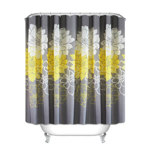 New Flower Printed Shower Curtain featuring Purple & White - Elegant addition to your Bathroom decor adding a touch of purple or yellow Waterproof. Polyester. Bathroom Curtain with Hooks