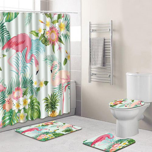 4 piece Flamingo and Floral Bathroom Set | Waterproof + Anti-Slip