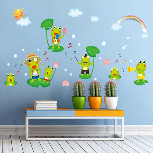 Wall Decal Frog Theme. Sticker with Frogs, Lily Pad and Rainbow for a fun Wall Feature in your Home. Mural for the Family & Kids to enjoy. Vinyl. Waterproof.