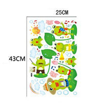 Load image into Gallery viewer, Wall Decal Frog Theme. Sticker with Frogs, Lily Pad and Rainbow for a fun Wall Feature in your Home. Mural for the Family & Kids to enjoy. Vinyl. Waterproof.