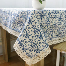 Load image into Gallery viewer, Classic Blue and White Porcelain Lace Tablecloth | Various sizes available