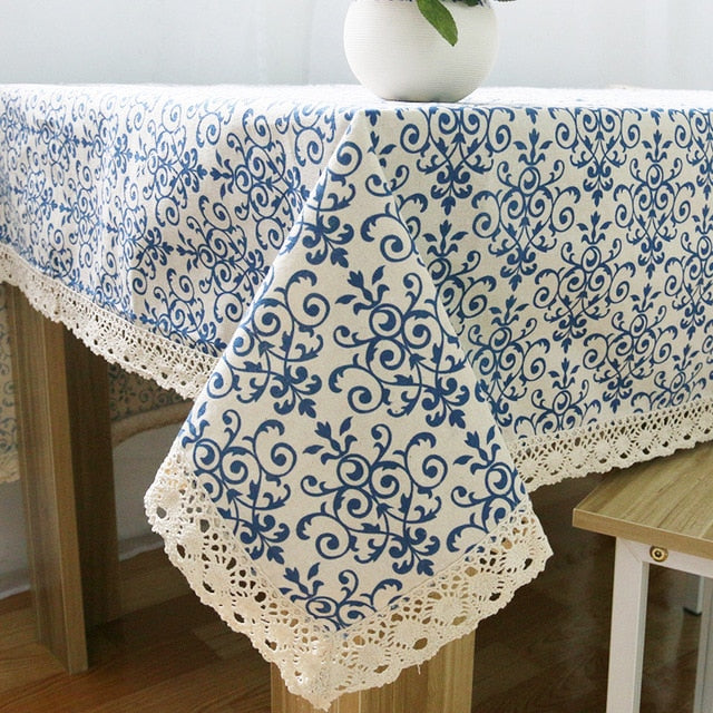 Classic Blue and White Porcelain Lace Tablecloth | Various sizes available