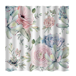 Beautiful Shower Curtain Pastel Floral & Green Leaves | Waterproof Polyester + 12 Curtain Hooks