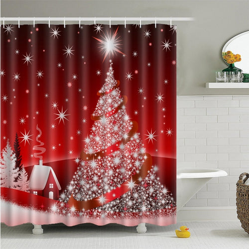 Red and White Christmas Tree Shower Curtain | Waterproof