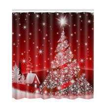 Load image into Gallery viewer, Red and White Christmas Tree Shower Curtain | Waterproof