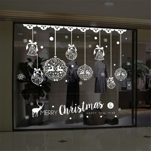 Christmas Jingle Bell & Reindeer Wall Decal for Home & Store Window