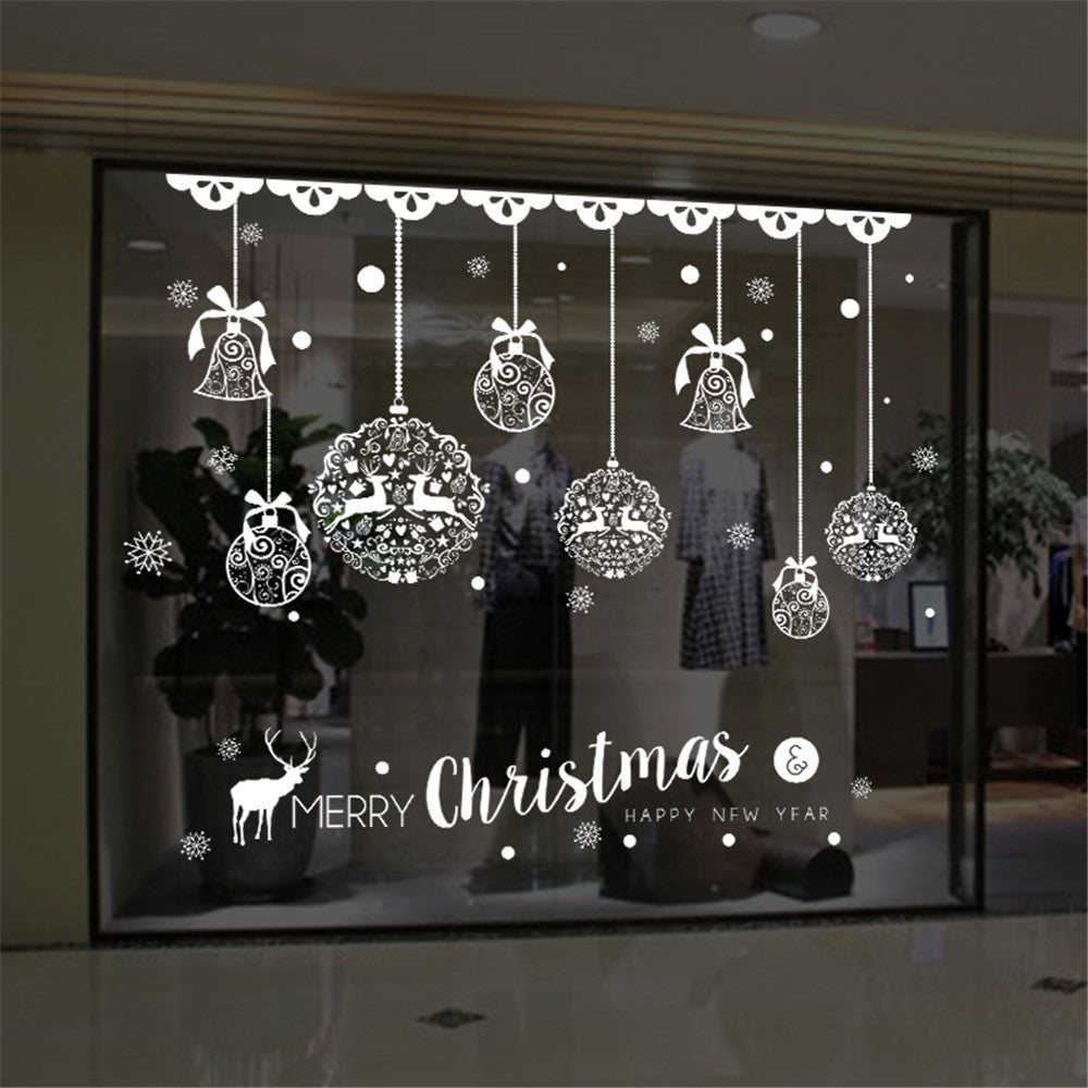 Christmas Jingle Bell & Reindeer Wall Decal for Home & Shop / Store Window