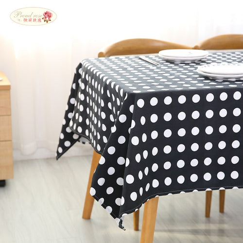Black and White Polka Dot Cotton Tablecloth