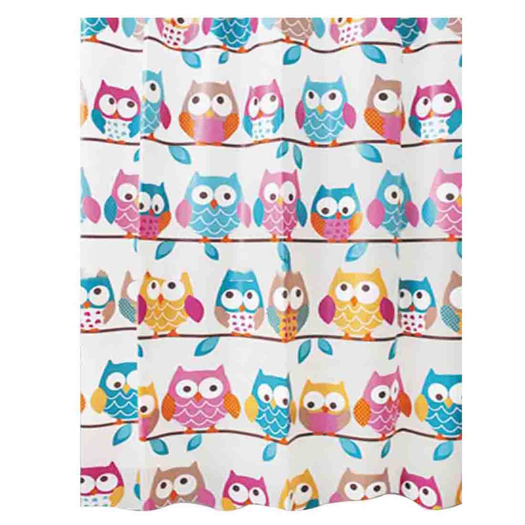 Shower Curtain Cute Owls on a Branch  | Waterproof