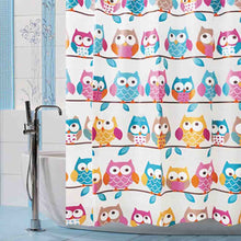 Load image into Gallery viewer, Shower Curtain Cute Owls on a Branch  | Waterproof