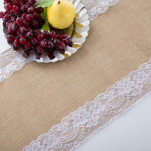 Load image into Gallery viewer, Table Runner Vintage Lace  Natural Hessian | Party Wedding Decor Celebration
